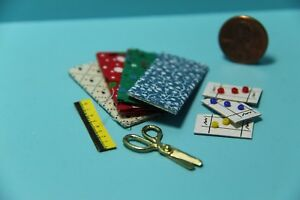 Dollhouse Miniature Sewing Set with Fabrics Scissors Button Cards and More $3.51