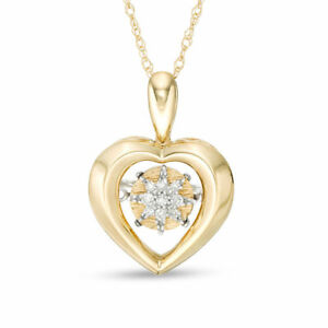 Floating Diamond Accent Heart Necklace Pendant Charm in 10K SOLID Yellow Gold