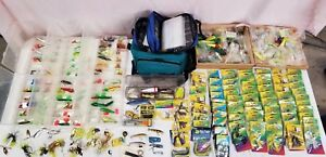 Lot of over 200 Fishing luresHooksclippersspinners& 2 carrying cases