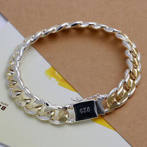 "Men's 925 Sterling Silver PL 10mm X 8"" Gold Rhodium Plated Curb Link Bracelet"