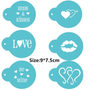 5 Pcs Packed Love Kiss Cookie Cake Stencil Decorate Mould Fondant Biscuit Tool