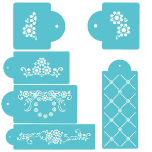 6 Pcs Packed Lots Flower Cookie Cake Stencil Decorate Mould Fondant Biscuit Tool