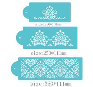 3 Pcs Packed Flower Line Cookie Cake Stencil Decorate Mould Fondant Biscuit Tool