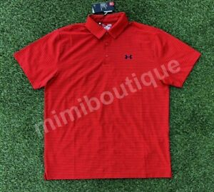 Under Armour Men's Performance Golf Polo Shirt Red Stripes Loose Fit Top $64.99