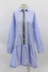 NWT $1995 Brunello Cucinelli Pem-Hem Shirt-Dress WGold Lurex Striping Sz M A186