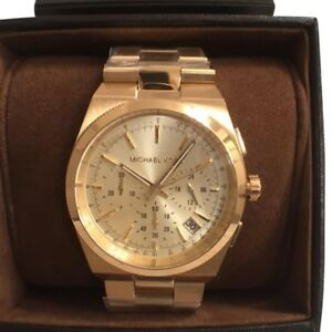 Michael Kors MK5926 Womens Mens Channing Chrono Gold Tone Bracelet Watch NEW!