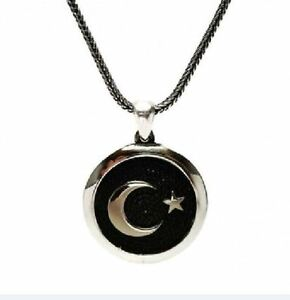 MONTH AND STARS TURKISH NECKLACE Special Ay yıldız Erkek Silver 925 SETTING