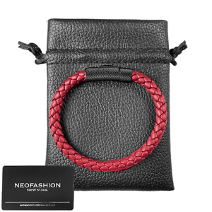 Sekora Ladies RED Premium Nappa Leather Braided High Quality Bracelet Wristband