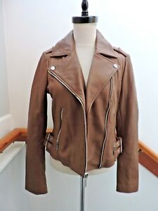 NEW $450 MICHAEL KORS BROWN LEATHER BIKER MOTO MOTORCYCLE JACKET S (4 6)