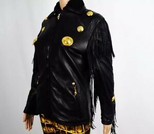 Iconic RARE Gianni Versace black cowgirl leather women's jacket Vintage Size 38