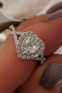 Certified 2.35Ct White Heart Cut Diamond Halo Engagement Ring 14k White Gold