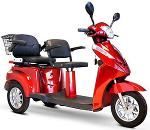 BLUE Adult Motorized Scooter Electric Mobility Scooter 2 persons with 2 seats