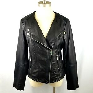 Michael Kors Black Genuine Soft Leather Moto Zip Jacket Women's Size Large