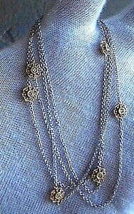 14K SOLID WHY GOLD DIAMOND BY THE YARD FLORAL NECKLACE~31.5
