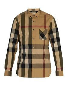Burberry London men's camel long sleeve casual check button down shirt sml3xl