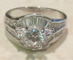 2 Ct Round Baguette Marquise cut Diamond Engagement Promise ring White Gold
