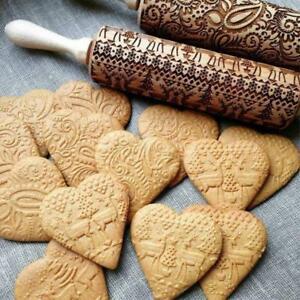 Christmas Embossing Rolling Pin For Baking Cookies