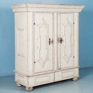 Antique 18th Century Danish Baroque Armoire with White Paint