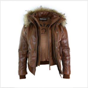 Mens Real Fur Hood Bomber Leather Jacket Black timber brown Puffer Padded