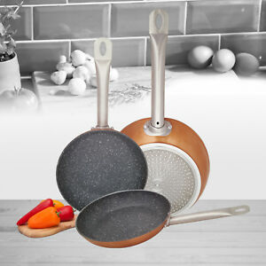 Set of 3 Induction Hob Non Stick Aluminium Copper Marble Coated Fry Pan Cook Set GBP 119.99