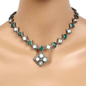Sterling Silver 8.37ct Uncut Diamond Emerald Choker Necklace 14k Gold VINTAGE !!