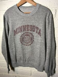 Vtg 70s UNIVERSITY of MINNESOTA GRAY SWEATSHIRT rayon? cotton MADE IN USA MEDIUM
