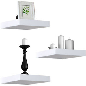 Sorbus Floating Shelves  Solid Square Shaped Hanging Wall Shelves Set of 3 White