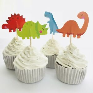 12x Jurassic Dinosaur CUPCAKE CAKE Food TOPPERS Party Lolly Loot Bag Park World AU $6.50