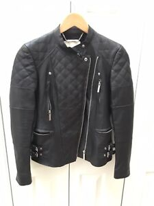 Michael Kors black leather moto jacket ($495 orig) Womens XXS EUC