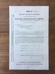 1923 BOULDER PERSEVERANCE LIMITED WA GOLD MINING SHARE APPLICATION FORM LF3