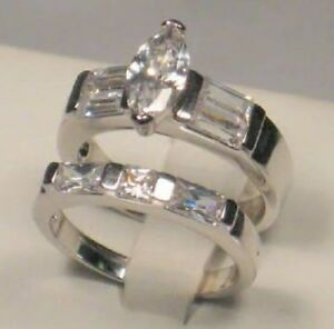 3.50 Ct Marquise Baguette Diamond Engagement Ring Wedding Set White Gold Size 8