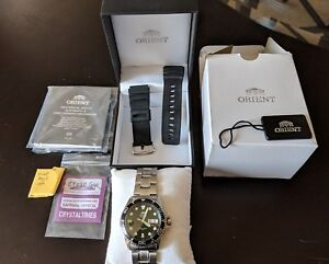 Men's Orient Ray II Black Dial Automatic Dive Watch SS Bracelet #FAA02004B9