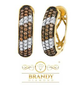 Brandy Diamond® Chocolate Brown 10K Yellow Gold Candy Stripe Earrings 1 Ct