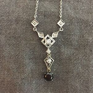14K White Gold and Diamond with Black Diamond Necklace 17