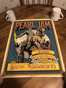 Pearl Jam Fenway Park Ian Williams Poster September 2 & 4 2018 Shows