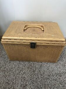 Vintage Sewing Box Container Kit Plastic Rare Retro Fabric Knitting Crafts Yarn $44.99