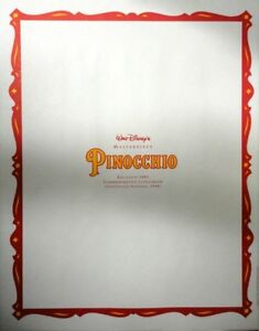 Walt Disney Masterpiece Pinocchio Commemorative Exclusive 1993 Lithograph New $9.99