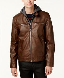 $358 GUESS Men BROWN FAUX LEATHER MOTO BIKER FULL ZIP JACKET WINTER COAT S