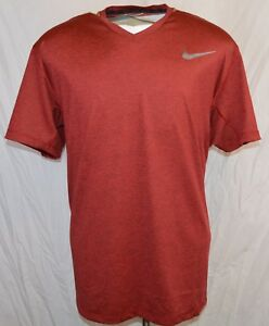 NEW Nike ULTIMATE DRY V-NECK TRAINING DRI-FIT SHIRT Men Size X-LARGE RED RUNNING