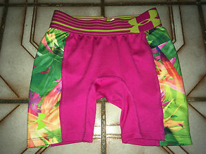 UNDER ARMOUR Girls Pink Stretchy FITTED HEATGEAR SHORTS Youth Extra Small YXS XS