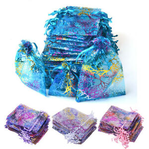 50 100 200 Sheer Coralline Organza Favor Gift Bags Jewelry Pouches Wedding Party