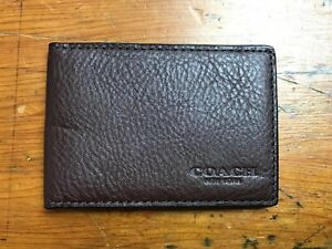 Coach Compact Card Case ID Slim Mini Wallet Insert Mahogany Brown Calf Leather