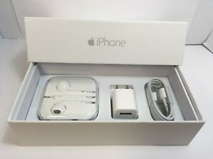 IPHONE 6 PLUS EMPTY RETAIL BOX AND NEW ACCESSORIES plug charger headphones