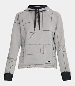 $150 Under Armour SPACER BURN OUT Hoodie Sweatshirt Womens S Charcoal Grey NEW!