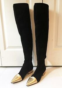 GIANNI VERSACE black suede thigh high boots w gold metallic leather size 38