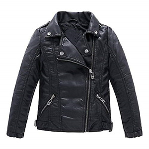 Meeyou Children's Motorcycle Leather Jacket Faux Leather Coat for Boys Black