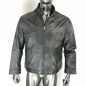 Men's Vintage GUESS Genuine Leather Jacket Grayish Black  Size L Large