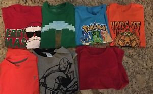 Lot Boys Short Sleeve Shirts Size Small 6-7 Pokémon Minecraft Halloween Dry Fit