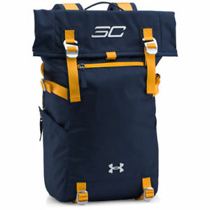 $150 Under Armour SC30 Steph Curry Signature Rolltop Gym Backpack Navy Blue Gold