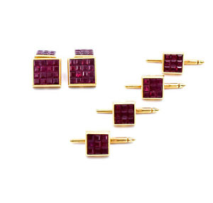 Aletto Brothers Tuxedo Dress Set 18k Gold Cufflings Set With Rubies WBox